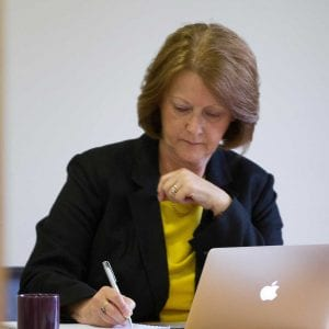 Independent Financial Adviser Jan Edwards at work in her office in Somerset