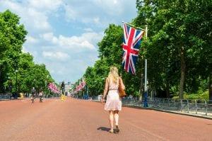 Women walking down Buckingham drive by herself