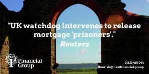 View from inside Burrow Mump Church - text reads UK watchdog intervenes to release mortgage prisoners released Rueters