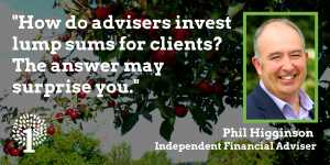 "Apple tree Somerset - Text stating ""How do adviser invest lump sums for clients?"""