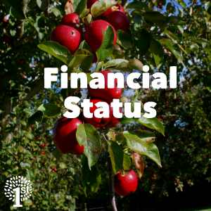 Branch of ripe red apples in Somerset Orchard - Financial Status text